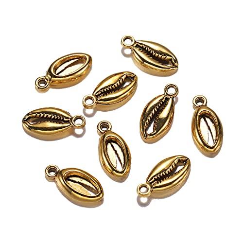 SS01 20 unids/Lote Chapado Antiguo Oro Bohemio Conch Conch Conch Shells Encanto Colgante para Collares Pulsera joyería museos Suministros YC619 (Metal Color : A Gold)