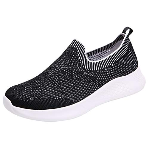 Women's Athletic Walking Shoe Mesh Breathable Comfortable Casual Sneakers, Slip-On Mother Runing Shoes (White, 9.5-10)