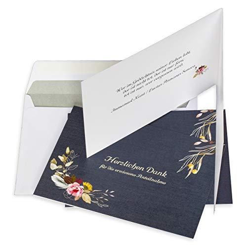 10 Stück Danksagungskarten Trauer mit Umschlag im Bundle, gefalzt auf DIN A6 quer mit Innentext, Dankeskarten Trauer, Trauerkarten, Danksagung Trauerkarten mit Umschlag