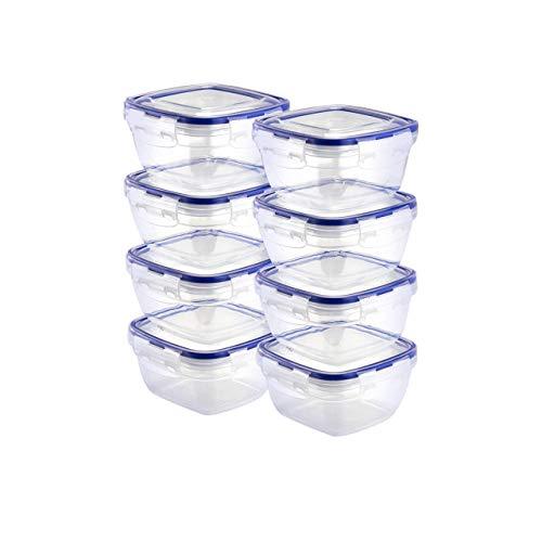 Grizzly Kunststoff Frischhaltedosen Set, 8X Vorratsdosen mit Deckel, Klein, quadratisch, stapelbar, Bruch-, mikrowellen- und spülmaschinenfest