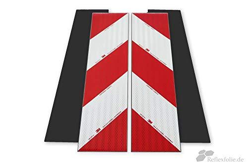 reflecto - Magnetische 3M™ Kfz-Warnmarkierung 3410 4 x 141x564 mm nach DIN 30710 Anwendungspaket rot weiß mit praktischen hochwertigen Transportkarton zu Aufbewahrung