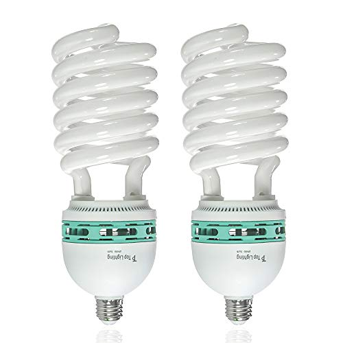 LS LIMO STUDIO LIMOSTUDIO 2-Pack 125W, 6500K Fluorescent Daylight Light Bulb for Photography and Video Lighting, Regular Screw Base, Energy Saving Compact Fluorescent Spiral Bulb, AGG878