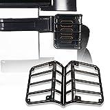 Black Rear Euro Tail Light Cover Guard for 2007-2018 Jeep Wrangler & Wrangler Unlimited JK - Pair