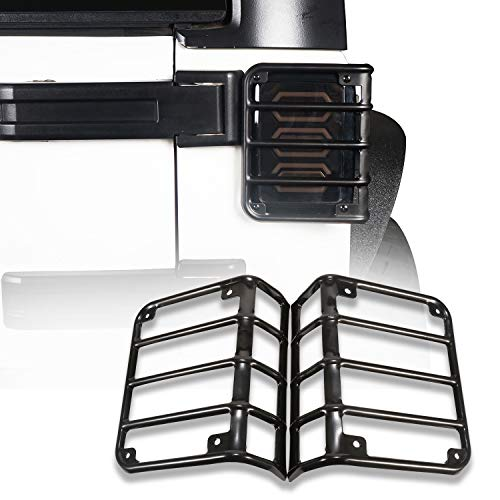 Hooke Road Black Euro Light Guards Tail Light Covers Rear Taillight Cage fit for 2007-2018 Jeep Wrangler JK - Pair