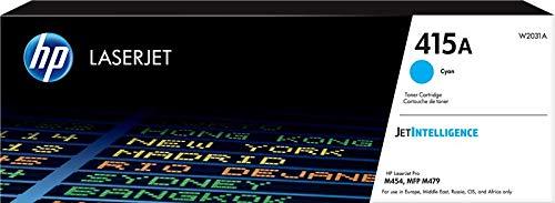HP 415A W2031A Cartuccia Toner Originale da 2.100 Pagine, per Stampanti HP Color LaserJet Serie Pro M454 e M479, JetIntelligence, Ciano
