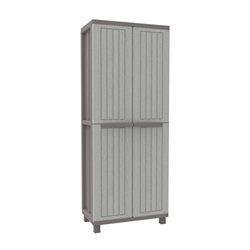 Terry 1102716, JWOOD 368, 2-Door Cabinet with 4 Tier Max Load Capacity: 10 kg per Shelf, evenly distributed, Grigio/Tortora, 68x37.5x170 cm