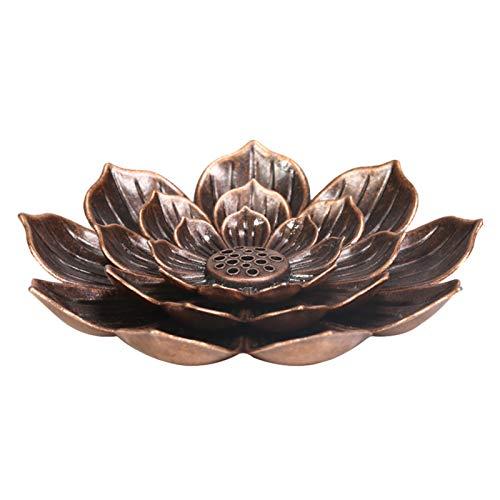 fuguzhu Räucherstäbchen Halter, Lotus-Form Räuchergefäß Weihrauchhalter mit abnehmbarem Aschefänger für Räucherstäbchen