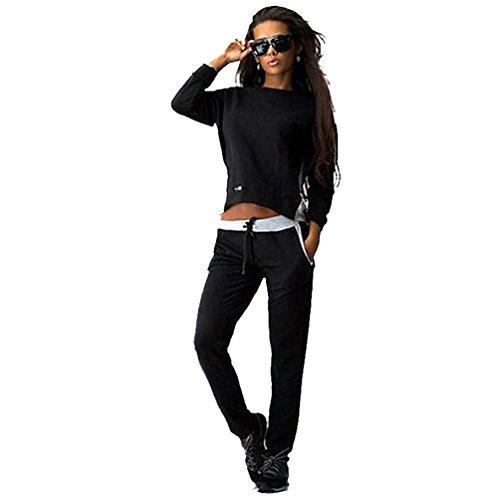 Baymate Femme Costumes du Sport Set Stitching Zipper Survêtement Sweat-Shirts + Pantalons Noir XL