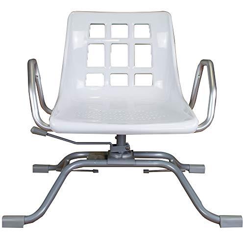 Queraltó Silla Giratoria 360º para Bañera, Comodidad Gracias a su Respaldo y Reposabrazos, Aluminio, 70.5 x 41 x 42 cm ✅