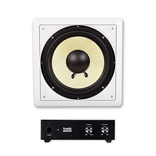 """Acoustic Audio HD-S10 in Wall 10"""" Home Theater Passive Subwoofer Speaker and Amplifier"""