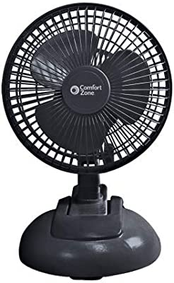 Comfort Zone CZ6XMBK 2-Speed 6-inch Clip Fan with Base and Adjustable Tilt