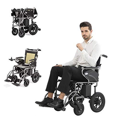 KFDQ Elektrischer Rollstuhl Rollstuhl, leichter und faltbarer elektrischer Elektrorollstuhl, Rollstuhl mit Begleitantrieb, 360 ° Smart Joystick mit Kippschutz für tragbaren Transit-Reisestuhl