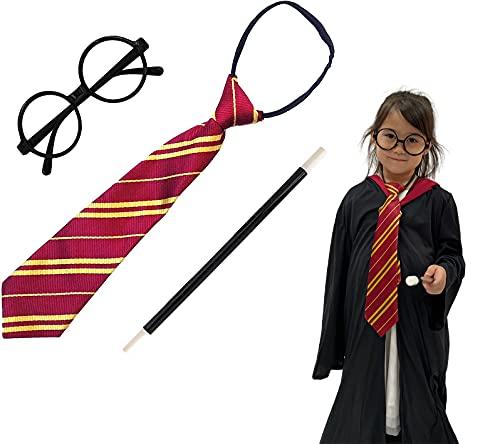 Disfraz de Mago Escolar,Gafas Negro de Marco,Varita mágica y Corbata para Adultos y Niños(Gafas Mago Pack Completo)