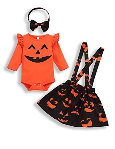 bilison Newborn Baby Girl Halloween Clothes Pumpkin Smile Ruffle Sleeve Romper +Floral Suspender Shirt Headband Outfits Orange