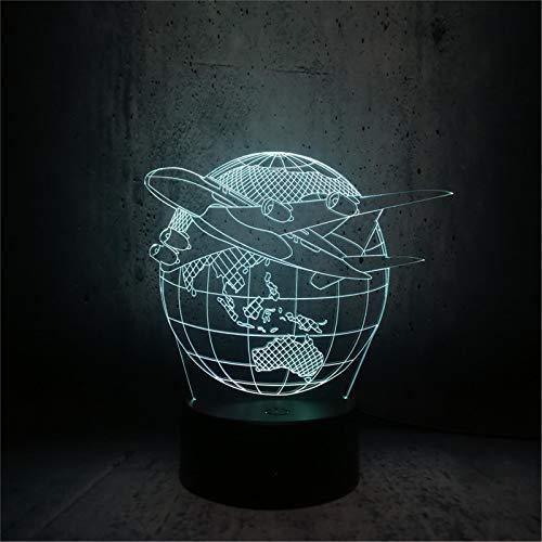 LBJZD luz de noche Lámpara Led Usb 3D Creativa Globo Planeta Tierra Aviones Triumph Skies 7 Colores Que Cambian El Estado De Ánimo Bombilla Piloto Decoración De La Habitación Rgb Con Mando A Distancia