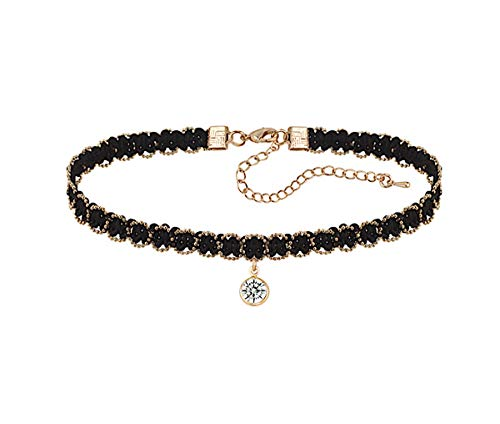 Bluebd Elegantes Kette mit einem Kristall Stein Halsband, Kropfband, Choker, Halskette, Collier, Schmuck, schwarz, Necklace (ST)