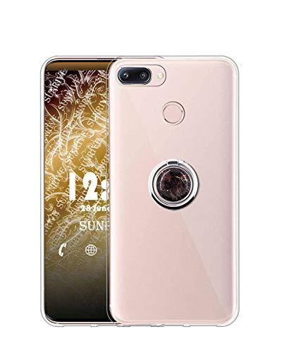 Sunrive Kompatibel mit Nubia Z11 Mini Hülle Silikon, Transparent Handyhülle 360°drehbarer Ständer Ring Fingerhalter Fingerhalterung Schutzhülle Etui Hülle(Schwarzer Marmor) MEHRWEG