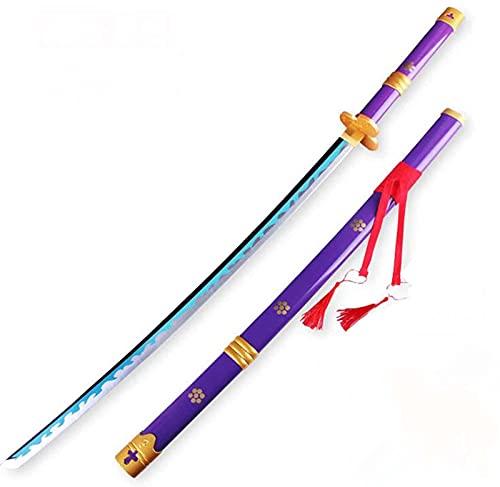 LSQJNDM Madera Hecho A Mano Katana Japonesa Samurai Espada, para Roronoa Zoro Anime Swords, Enma Purple, Puntales-Juegos De rol, Animado ColeccióN De Los Amantes