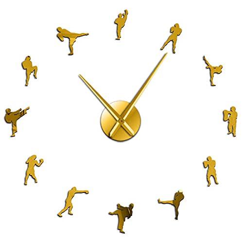 xinxin Reloj de Pared Kickboxing DIY Reloj de Pared Fighting Wall Art Cuarzo Acrílico Espejo Adhesivo Reloj Kickboxing Entrenador Regalo Taekowndo Gimnasio Decoración