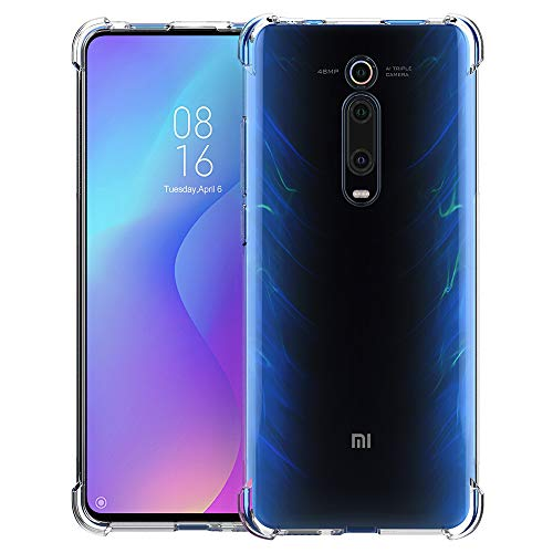 CRESEE Cover Xiaomi Mi 9T, [Reinforced Corners Drop Protection] Protective Transparent Silicone Case Cover for Xiaomi Mi 9T (Transparent)