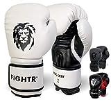 FIGHTR Guantes de Boxeo, Ideales para Estabilidad y Fuerza de Impacto, Guantes para Boxeo, MMA, Muay Thai, Kickboxing y Artes Marciales, Incluye Bolsa de Transporte (Blanco/Negro, 12 oz)