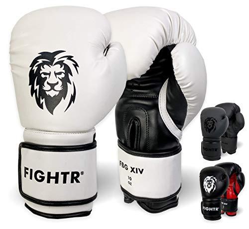FIGHTR® Premium Guantoni da Boxe – Ideali stabilità e Forza d'urto | Guanti da Punching per Boxe, MMA, Muay Thai, Kick Boxing & Arti Marziali | con Custodia (Bianco/Nero, 14 oz)