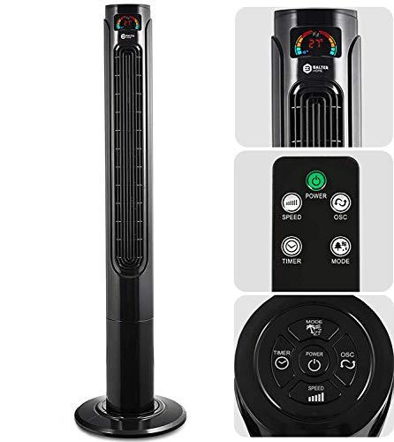 Balter Turmventilator mit Fernbedienung ✓ Sehr leise ✓ 120cm hoch ✓ 3 Geschwindigkeitsstufen ✓ Wind/Schlafmodi ✓ Timer ✓ 80° oszillierend ✓ Extra Stabil - 32cm Standfuß ✓ Schwarz