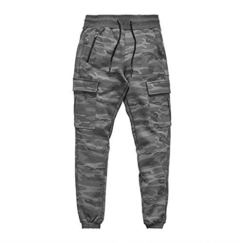 UKKD Pantalones Deportivos Hombre Jogger Sweetpants Masculino Culturismo Fitness Planchas Hombre Algodón Moda Multi-Bols Bodybuilding Entrenamiento Pantalones De Jogging-L,Grey Camouflage