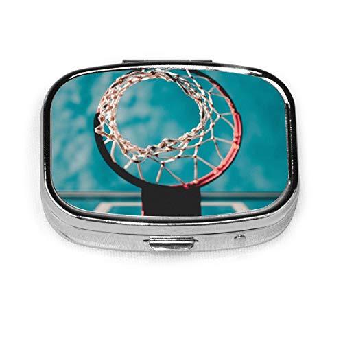Basketballkorb Pillendose, quadratisch, Metall, zwei Fächer, Medizin-Aufbewahrung für Medikamente, Organizer oder Geldbörse, Organizer für Reisen