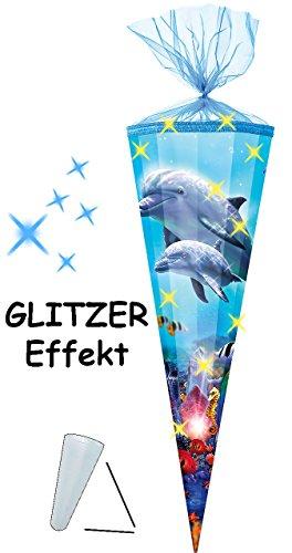 alles-meine.de GmbH 3-D Glitzer Effekt _ ! - Schultüte -  Delfinfamilie / Fische  - 85 cm / 12 eckig - Organza Abschluß - Zuckertüte - mit / ohne Kunststoff Spitze - für Mädche..