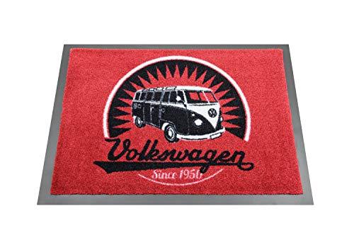 BRISA VW Collection - Volkswagen T1 Bulli Bus Fuß-Matte, Tür-Vorleger, Sauber-Laufmatte, Fuß-Schmutz-Abtreter-Abstreifer (70x50cm/Vintage Logo/Rot)