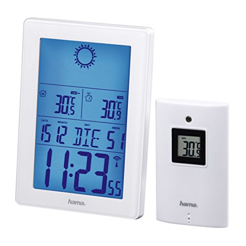 Hama EWS 3100 Estación Meteorológica con Sensor Exterior, Radio Reloj, Blanco, 20.70x12.50x6.50 cm