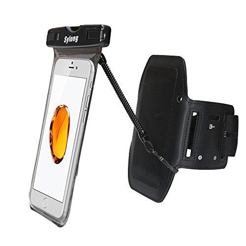 Sylong Brazalete impermeable con gancho y bucle desmontable para teléfono móvil, funda impermeable para iPhone X/iPhone 8 Plus/8/7 Plus/6 Plus/6, Galaxy S8/S8 Plus/S7 Edge de hasta 6 pulgadas.