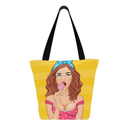 Mädchen darf Lutscher 11 × 7 × 13 Zoll maschinenwaschbare robuste Polyester-Einkaufstaschen falten Faltbare wiederverwendbare Einkaufstaschen für Lebensmittel zum Einkaufen saugen