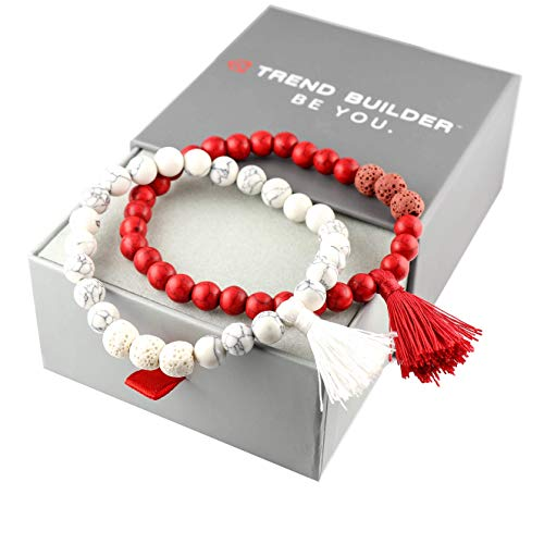 New Natural Lava Rock Stone Essential Oil Diffuser Tassel Bracelets for Aromatherapy | FIRST AID rescue aroma Friendship Tibetan Prayer Beaded (2 PCS Set. Divine Protection. Red, White, 19)