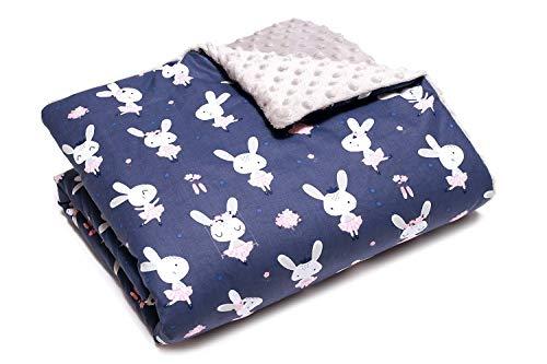 Couverture bebe Doudou bebe coton et polaire doux 80cm x 100cm (Lapin)