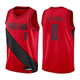 Egdu Camiseta de Baloncesto, Camiseta de la NBA Portland Trail Blazers # 0 Damian Lillard Camiseta de Baloncesto Retro para Hombre Camiseta Deportiva Unisex sin Mangas (Estilo 4),Rojo,S
