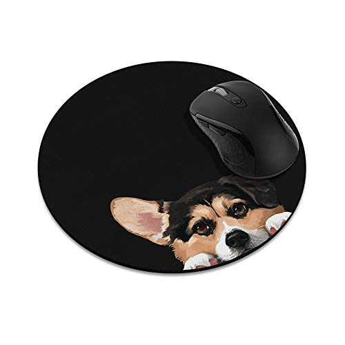 Non-Slip Round Mousepad, WIRESTER Tricolor Pembroke Welsh Corgi Mouse Pad for Home, Office and Gaming Desk