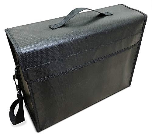 SlayMonday Bolsa ignífuga Grande (15X 12 X 5Pulgadas) (2000 ° F) para Documentos y Dinero - Protección Fuerte contra el Calor de Doble Capa