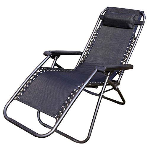 Zon olding Stoel, Lounger ligstoelen met verstelbare hoofdsteunen en verbreed Armsteun, ademend zweet, of Travel Binnen Buiten, Black zhihao (Color : Black)