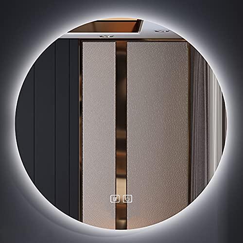 HHDD Espejo de Pared para Baño con LED, Espejo Plateado Antivaho de Alta Definición Espejo Retroiluminado con LED Ajustable de Tres Colores, Utilizado en Baños/Salones de Belleza