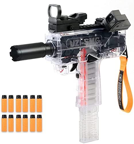 UZI SMG Spielzeugpistole Elektrische Burst Soft Bullet Jungen Spielzeug Pistolen Transparent Submaschine Gun High Speed Long Range Schwamm Kinder Junge Spielzeug (A - Orange)