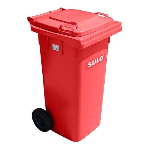 Müllbehälter, Inhalt 120 Liter, rot