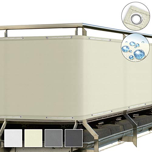 Sol Royal SolVision Balkon Sichtschutz Creme PB2 PES blickdichte Balkonumspannung 90x500 cm – Balkonbespannung mit Ösen und Kordel - in div. Größen & Farben