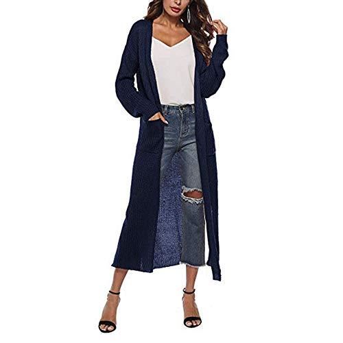 Vertvie Damen Mantel Langarm Open Front Cardigan Strickjacke Asymmetrisch Schnitt Strickmantel Langshirt mit Taschen Lang Bolero Dünne Casual Knit Sweaters (EU XL/Etikettengröße 2XL, S-Marineblau)