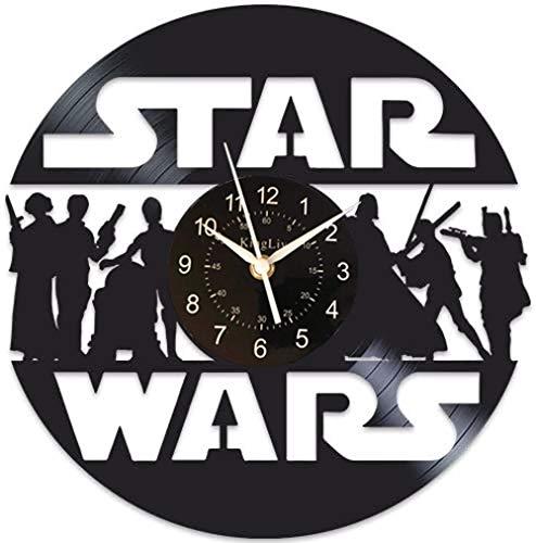 Star Wars - Reloj de pared con disco de vinilo para decoración del hogar, decoración creativa de pared, regalo único, sala de estar, cocina, decoración hecha a mano, 30,5 cm, negro (1 sin LED)