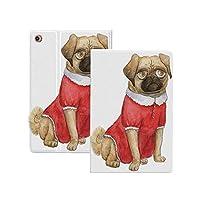 iPad Pro 11 ケース 2020 パグ、かわいい犬の赤いドレス動物漫画スタイルデザイン面白いペット画像印刷、淡い茶色赤茶色 パグ [Apple Pencil 2 ワイヤレス充電対応] 軽量 き イッピー りスマートケース iPad Pro 11インチ 2020用ハード背面カバー 淡い茶色赤茶色