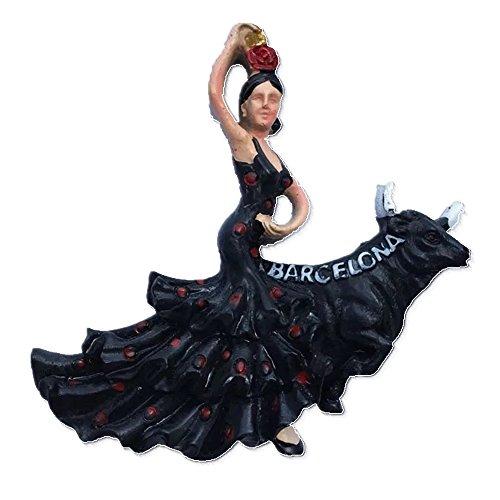 Imán para nevera con diseño de bailarina flamenca, Barcelona España de resina...