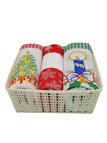 Galitex - Pack de 3 Paños Cocina Navidad, 100% Algodón, Fabricado en Portugal, Toallas de Cocina de 65x50cm con Cenefas de Detalles Navideños (Cesta Blanca)