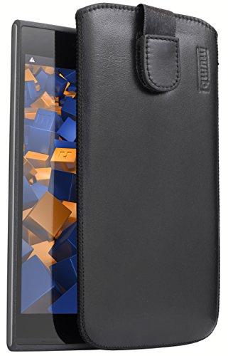 mumbi Echt Ledertasche kompatibel mit Wiko Ridge 4G Hülle Leder Tasche Hülle Wallet, schwarz
